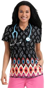 Landau Urbane Womens V-Neck Empire Scrub Top