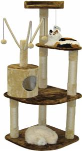 Go pet club 60 h beige brown cat tree playground for Epic cat tree