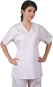 Adar Womens Embroidered Mock Wrap Scrub Top