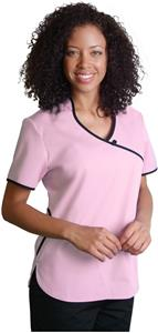 Adar Womens Asian Style Contrast Trim Scrub Top
