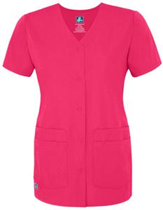 Adar Womens Double Pocket Snap-Front Scrub Top