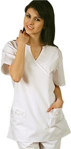 Adar Womens Mock Wrap Semi-V Uniform Top