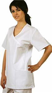 Adar Women Mock Wrap Piped Side Insets Uniform Top