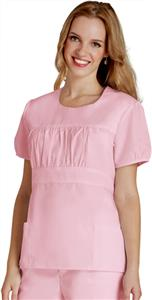 Adar Womens Shirred Midriff Uniform Top