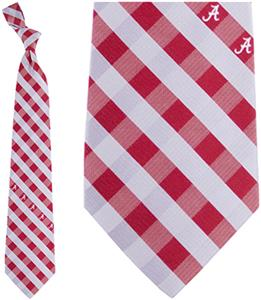 Eagles Wings NCAA Alabama Woven Poly Check Tie