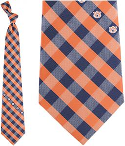 Eagles Wings NCAA Auburn Woven Poly Check Tie