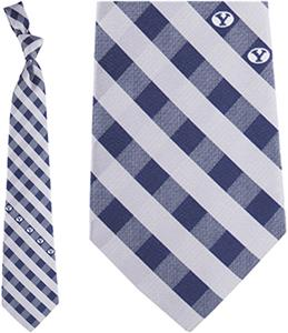 Eagles Wings NCAA BYU Cougars Woven Poly Check Tie