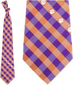 Eagles Wings NCAA Clemson Woven Poly Check Tie