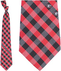 Eagles Wings NCAA Georgia Woven Poly Check Tie