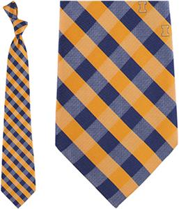 Eagles Wings NCAA Illinois Woven Poly Check Tie