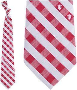 Eagles Wings NCAA Indiana Woven Poly Check Tie