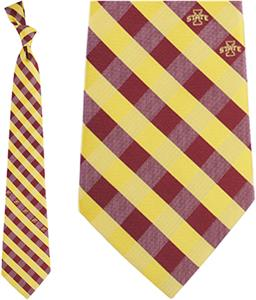 Eagles Wings NCAA Iowa State Woven Poly Check Tie