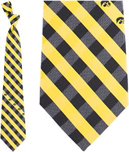 Eagles Wings NCAA Iowa Woven Poly Check Tie