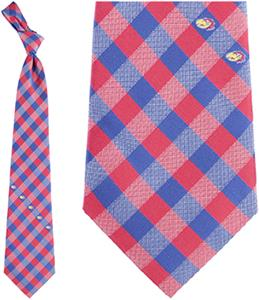 Eagles Wings NCAA Kansas Woven Poly Check Tie