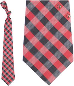 Eagles Wings NCAA Louisville Woven Poly Check Tie
