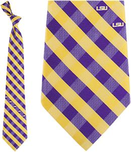 Eagles Wings NCAA LSU Tigers Woven Poly Check Tie