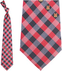 Eagles Wings NCAA Maryland Woven Poly Check Tie