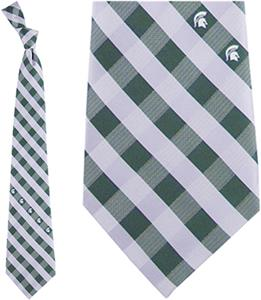 Eagles Wings NCAA Michigan St Woven Poly Check Tie