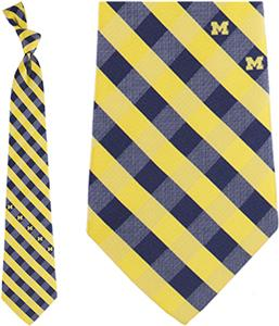 Eagles Wings NCAA Michigan Woven Poly Check Tie