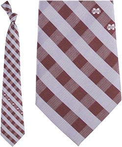 Eagles Wings NCAA Mississippi St Woven Check Tie
