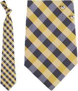 Eagles Wings NCAA Missouri Woven Poly Check Tie
