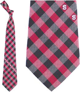 Eagles Wings NCAA NC State Woven Poly Check Tie