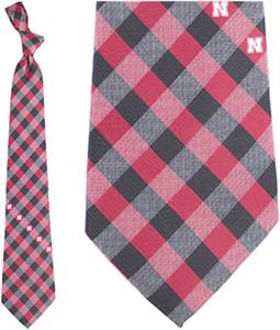 Eagles Wings NCAA Nebraska Woven Poly Check Tie