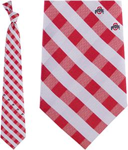 Eagles Wings NCAA Ohio State Woven Poly Check Tie