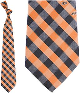 Eagles Wings NCAA Oklahoma St Woven Poly Check Tie