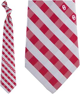 Eagles Wings NCAA Oklahoma Woven Poly Check Tie