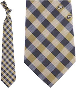 Eagles Wings NCAA Purdue Woven Poly Check Tie