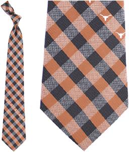 Eagles Wings NCAA Texas Woven Poly Check Tie