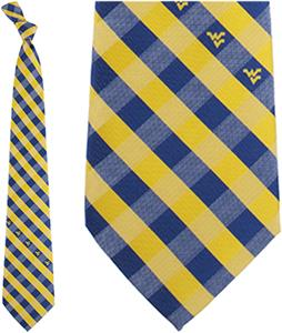 Eagles Wings NCAA W. Virginia Woven Poly Check Tie
