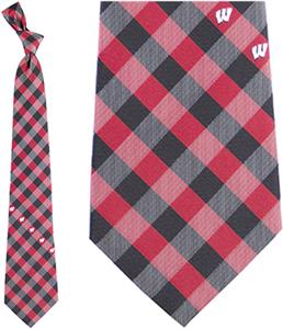 Eagles Wings NCAA Wisconsin Woven Poly Check Tie