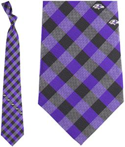 Eagles Wings NFL Ravens Woven Poly Check Tie