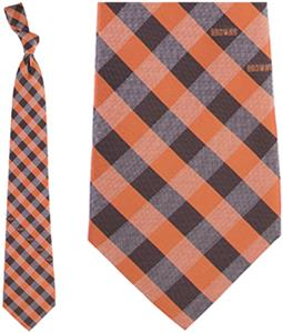 Eagles Wings NFL Browns Woven Poly Check Tie
