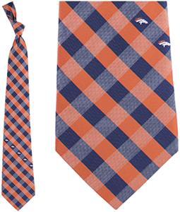 Eagles Wings NFL Broncos Woven Poly Check Tie