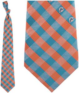 Eagles Wings NFL Dolphins Woven Poly Check Tie