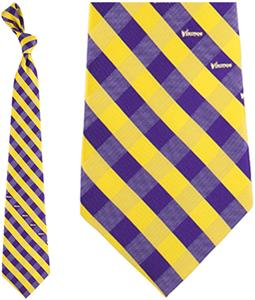 Eagles Wings NFL Vikings Woven Poly Check Tie