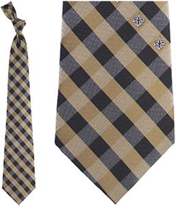Eagles Wings NFL Saints Woven Poly Check Tie
