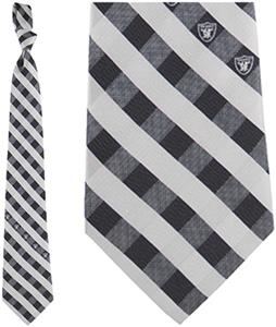 Eagles Wings NFL Raiders Woven Poly Check Tie