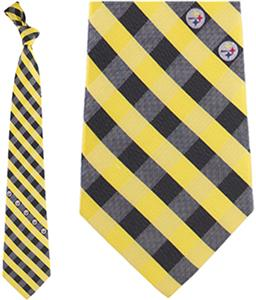 Eagles Wings NFL Steelers Woven Poly Check Tie