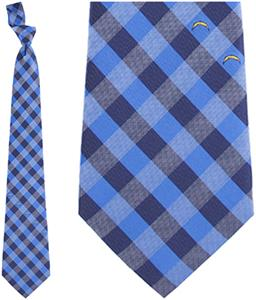 Eagles Wings NFL Chargers Woven Poly Check Tie