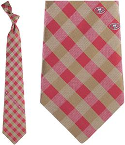 Eagles Wings NFL 49ers Woven Poly Check Tie