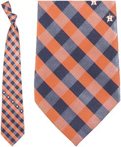 Eagles Wings MLB Astros Woven Poly Check Tie