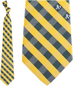 Eagles Wings MLB Oakland A's Woven Poly Check Tie