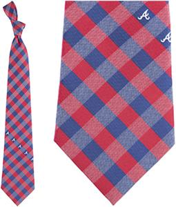 Eagles Wings MLB Braves Woven Poly Check Tie