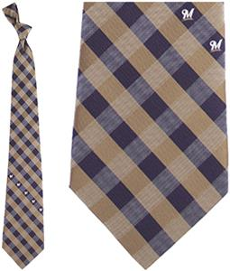 Eagles Wings MLB Brewers Woven Poly Check Tie