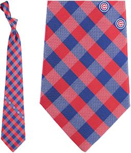 Eagles Wings MLB Chicago Cubs Woven Poly Check Tie