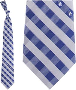 Eagles Wings MLB LA Dodgers Woven Poly Check Tie